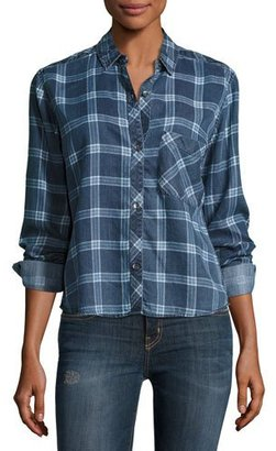 Rails Dana Grid-Print Denim Shirt, Midnight Grid $148 thestylecure.com