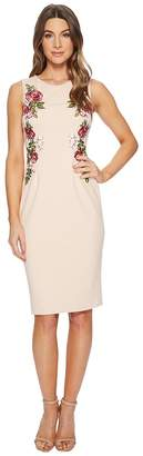 Adrianna Papell Knit Crepe Embroidered Sheath Women's Dress