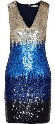 Alice + Olivia Nat Color-block Sequined Mesh Mini Dress