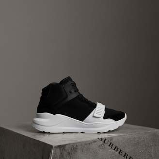 Burberry Suede and Neoprene High-top Sneakers