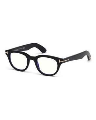 2c26f60e9e27a Tom Ford Men s Rectangular Plastic Blue-Block Glasses
