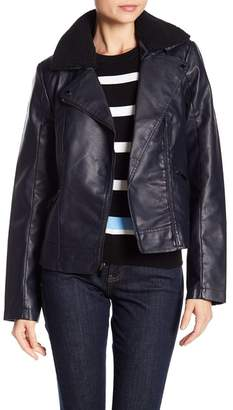 French Connection Moto Faux Fur Collar Jacket