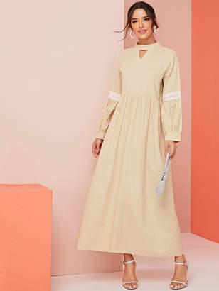 Shein Lace Contrast Cut Out Keyhole Back Dress