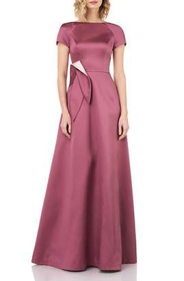 Kay Unger New York Boat-Neck Short-Sleeve Mikado Gown with 3D Bow & Pockets