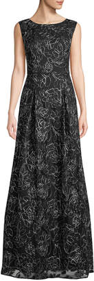 Karl Lagerfeld Paris FLOWER PRINT LACE TULLE GOWN