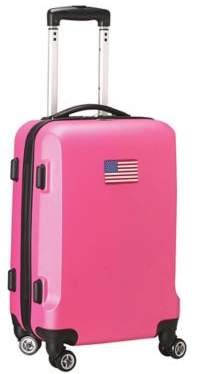 Denco Mojo USA Flag 21-Inch Hardside Spinner Carry-On Luggage in Pink