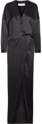 Michelle Mason - Draped Wrap-effect Silk-satin Maxi Dress - Black