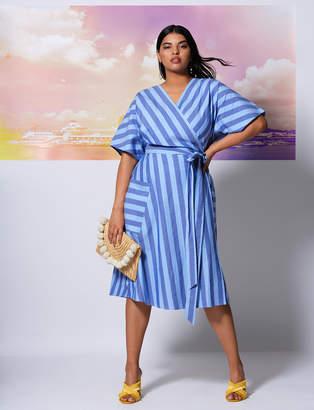 Striped Kimono Sleeve Tie Waist Dress
