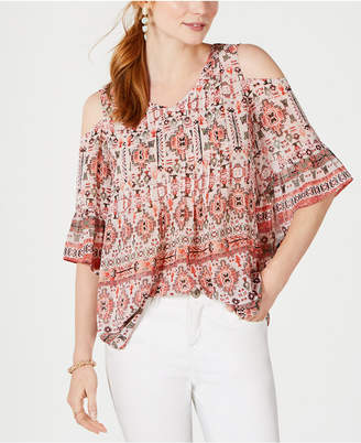Style&Co. Style & Co Printed Cold-Shoulder Top