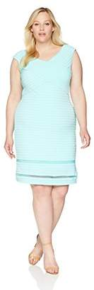 Calvin Klein Women's Plus Size Solid V-Neckline Sheath with Illusion Hem Dress