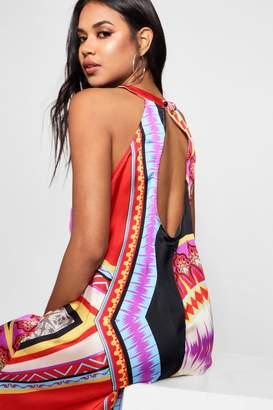 boohoo Bohemian Scarf Print Hanky Hem Maxi Dress