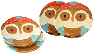 Way To Celebrate Way to Celebrate Microwave & Dishwasher Safe Figural Owl Salad Plate Set, 4 Count