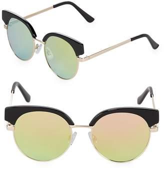 Fantas-Eyes FANTAS EYES Women's Mirrored 48MM Clubmaster Sunglasses