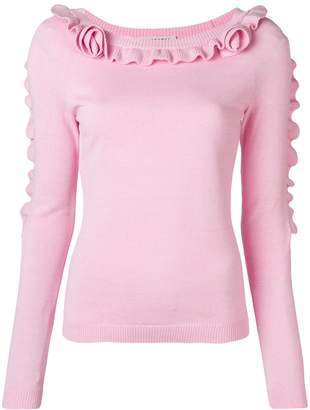 Philosophy di Lorenzo Serafini ruffle-trim fitted sweater