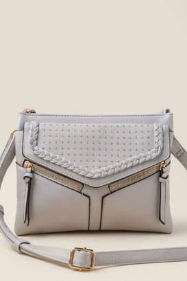 francesca's Isa Studded Double Zip Crossbody - Light Gray