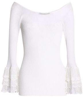 Roberto Cavalli Crochet-Trimmed Ribbed-Knit Top