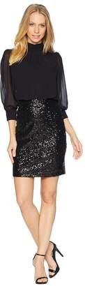 Bebe Blouson Top Sequin Skirt Dress Women's Dress