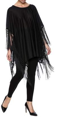 Twos Company Two's Company Fringed T-Shirt Poncho