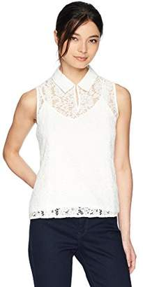 Calvin Klein Women's Petite Lace Top with Collar