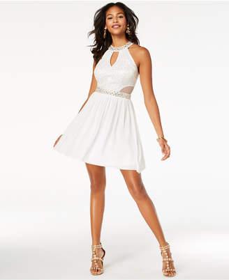 B. Darlin Juniors' Sequined Lace Halter Dress