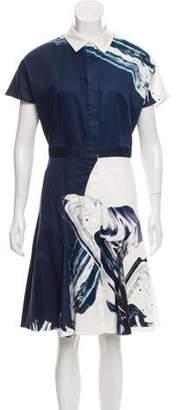 Prabal Gurung Abstract Print Shirt Dress Navy Abstract Print Shirt Dress