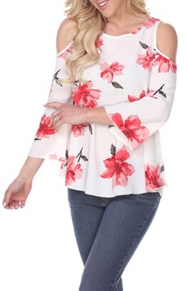 White Mark Women's Floral Shoulder Cut-Out Top