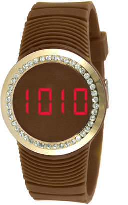 TKO ORLOGI Womens Crystal-Accent Brown Silicone Strap Touch Digital Sport Watch $45 thestylecure.com