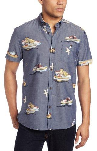 Zanerobe Men's Tug-O-War Short Sleeve Woven Shirt, Navy, Large