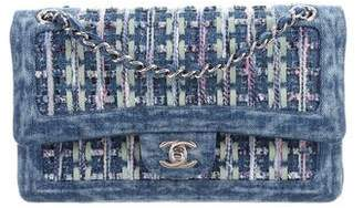 Pre Owned At Therealreal Chanel 2018 Denim Tweed Classic Medium Double Flap Bag W Tags