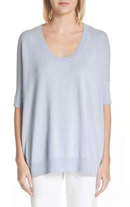 Lafayette 148 New York Cotton, Cashmere & Silk Oversized Scoop Neck Sweater