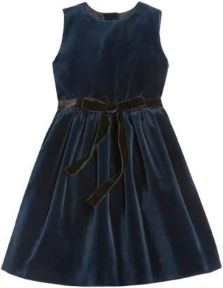 Oscar de la Renta Kids Cotton Velvet Dress With Pleated Skirt
