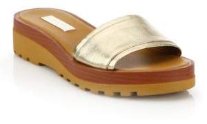 See by Chloe Robin Metallic Leather Slide Sandals
