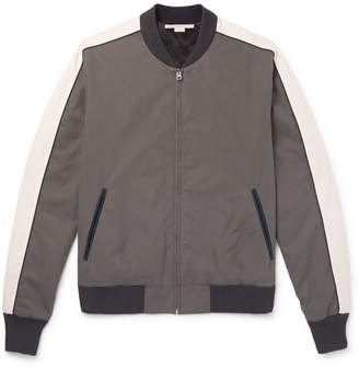 Stella McCartney Embroidered Brushed-Cotton Bomber Jacket - Men - Anthracite
