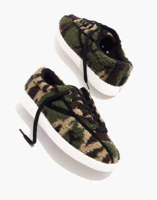 Madewell Tretorn Nylite Plus Sneakers in Camo Faux Shearling