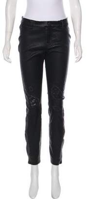 J Brand Leather Mid-Rise Skinny Jeans