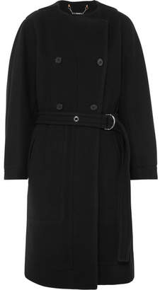 Chloé Belted Double-breasted Wool-blend Felt Coat - Navy
