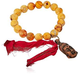 Hadassah Design Group Men's Buddha and Sari Tassel Charm Bracelet