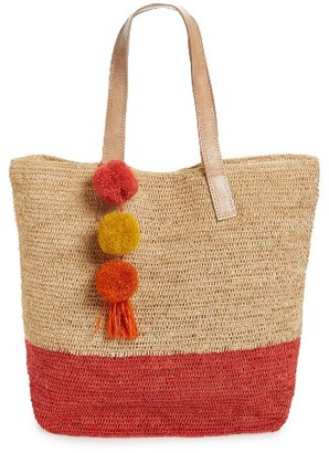 Mar Y Sol Montauk Woven Tote With Pom Charms - Coral $139 thestylecure.com