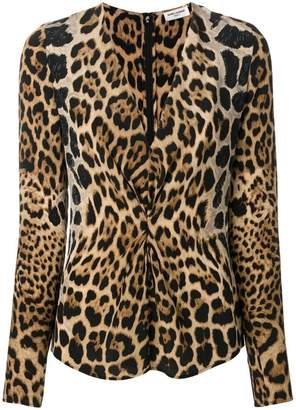 Saint Laurent leopard print gathered blouse