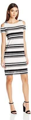 Sandra Darren Women's Petite 1 Pc Cold Shoulder Bodre Knit Printed Striped Shift Dress