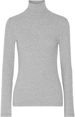 James Perse - Brushed Cotton-blend Jersey Turtleneck Top - Gray $145 thestylecure.com