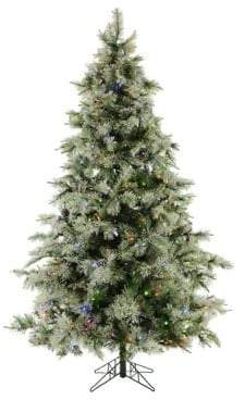 Fraser Hill Farms 7.5-Ft. Glistening Pine Tree with Pine Cones with Mult-Color LED Lights