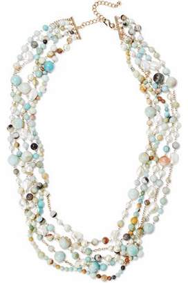 Kenneth Jay Lane Gold-Tone Faux Pearl And Stone Beaded Necklace
