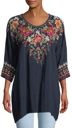 Johnny Was Shaylee 3/4-Sleeve Embroidered Blouse, Plus Size