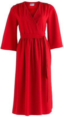 Coco Veve Pearl Wrap Dress with Kimono Sleeve in Red
