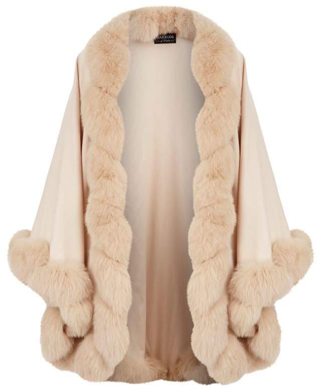 Fox Fur Trim Cashmere Cape