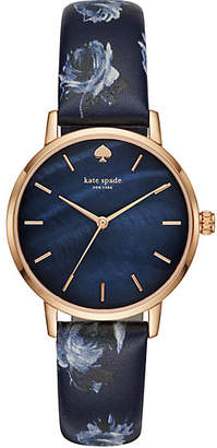 Kate Spade Metro floral navy leather watch