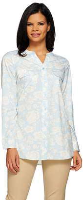 Denim & Co. Floral Printed Y-neck Button Front Tunic