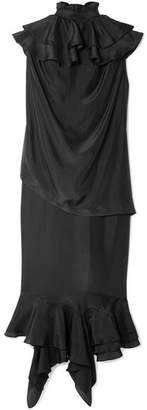 J.W.Anderson Ruffled Silk Midi Dress - Black