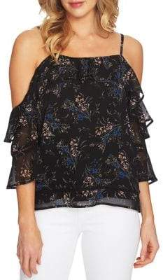 CeCe Dancing Bouquet Cold-Shoulder Blouse